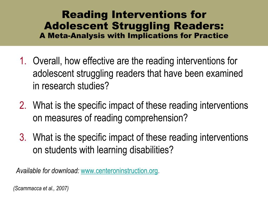 Reading Interventions for