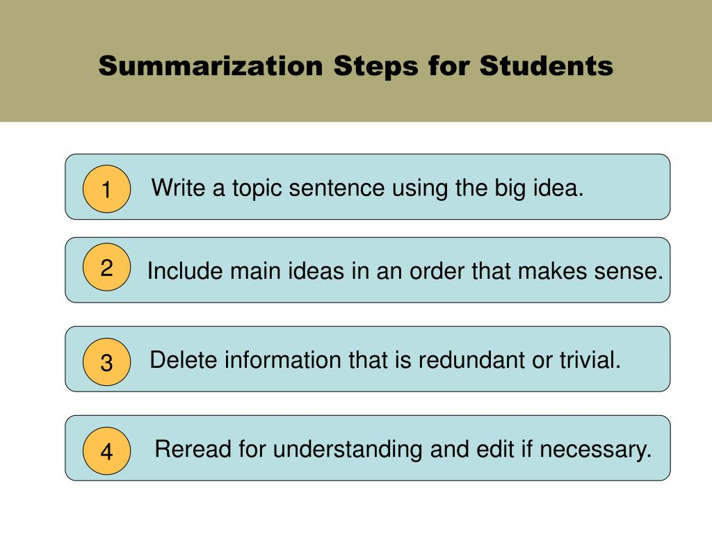 Summarization Steps for Students