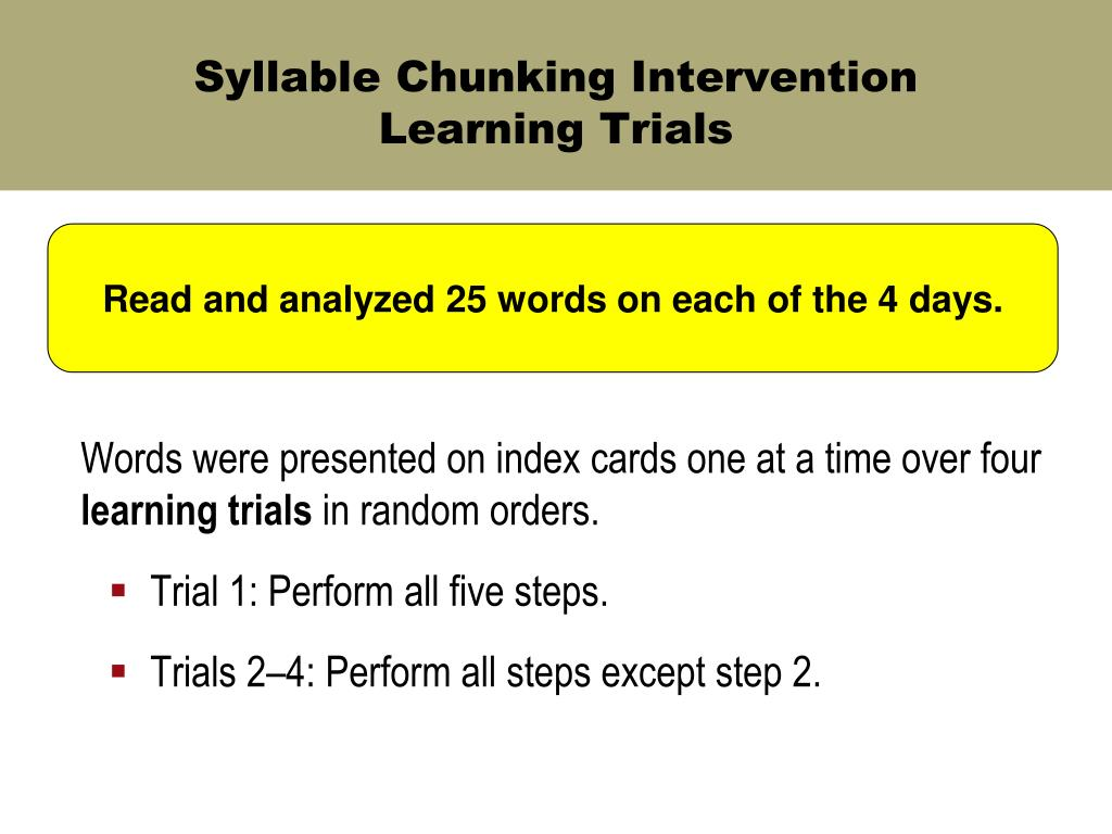 Syllable Chunking Intervention
