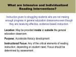 what are intensive and individualized reading interventions