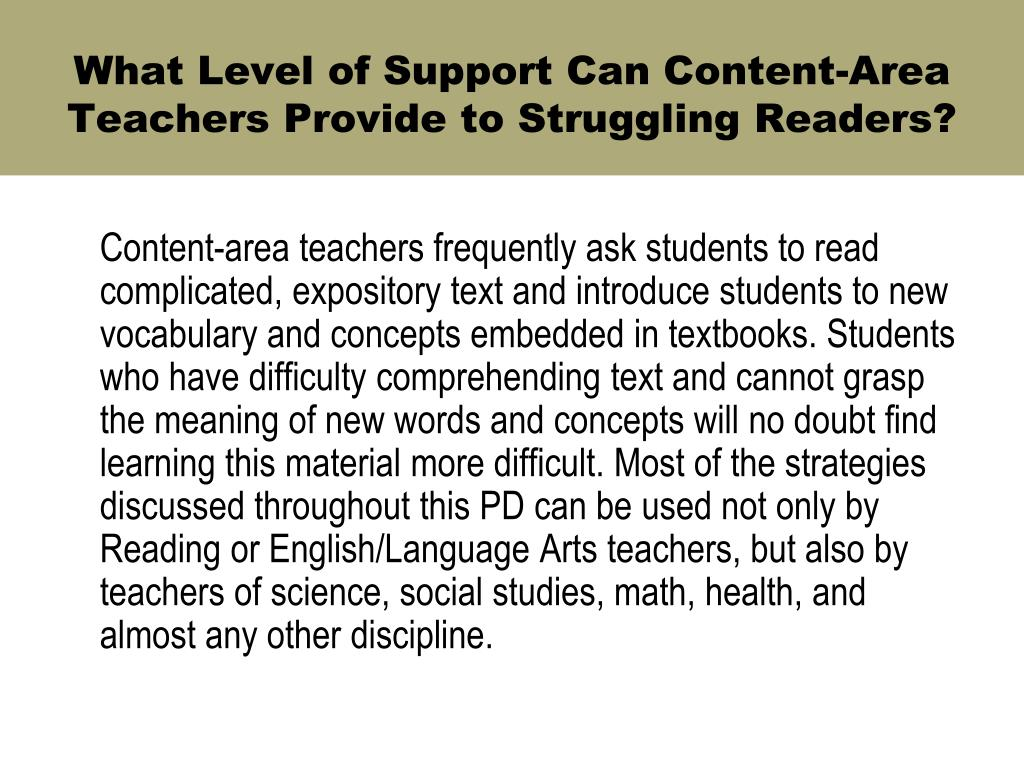 What Level of Support Can Content-Area Teachers Provide to Struggling Readers?