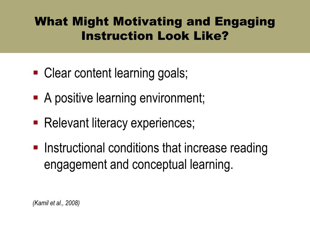 What Might Motivating and Engaging Instruction Look Like?
