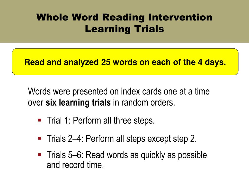 Whole Word Reading Intervention