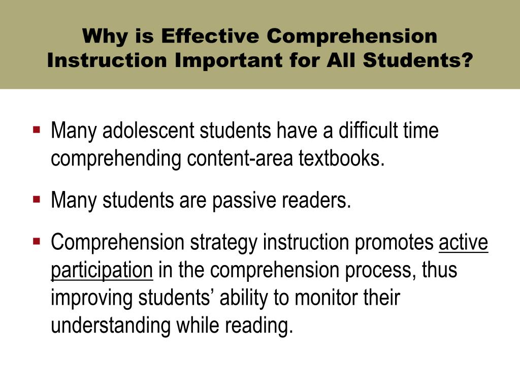 Why is Effective Comprehension Instruction Important for All Students?