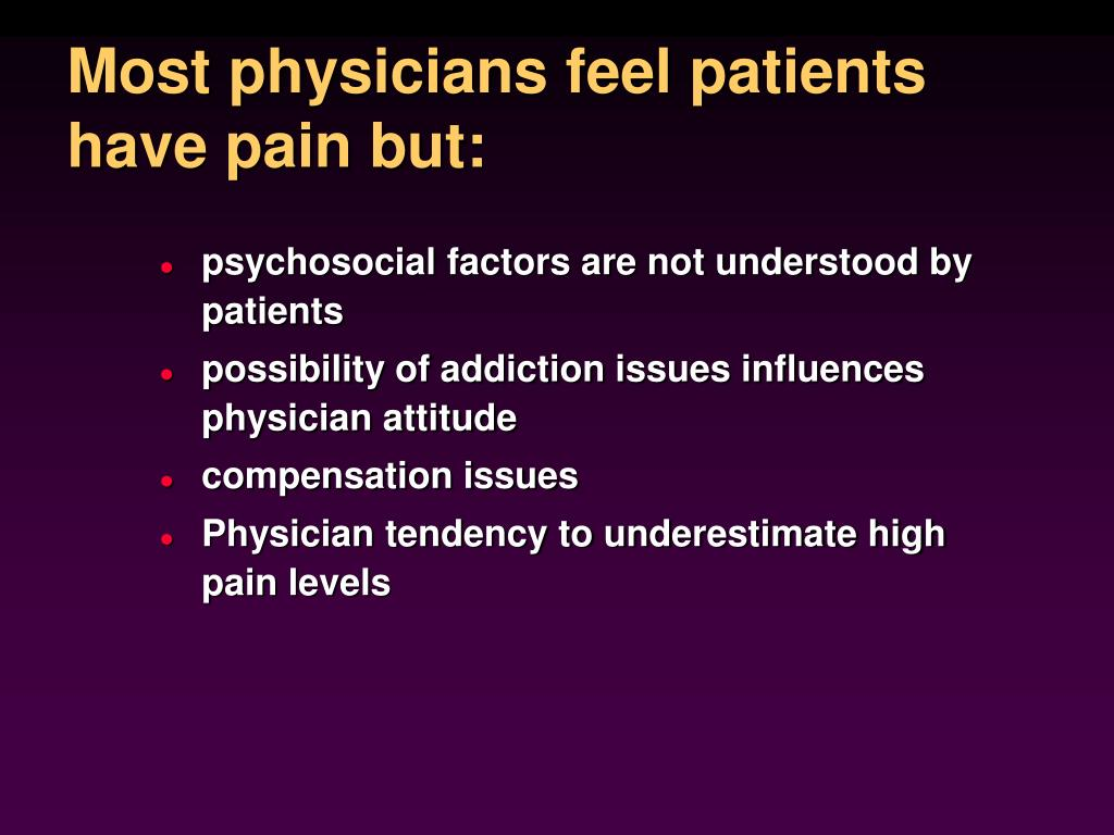Most physicians feel patients have pain but: