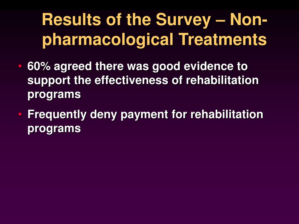 Results of the Survey – Non-pharmacological Treatments