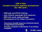 how it was examples of positive regulatory developments the imo spirit