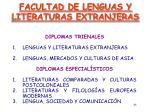 facultad de lenguas y literaturas extranjeras