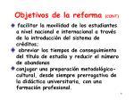 objetivos de la reforma cont