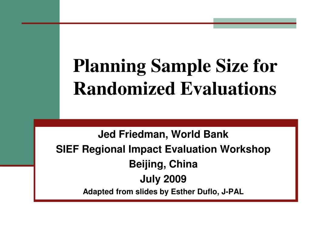 planning sample size for randomized evaluations l.