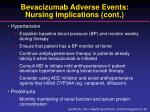 bevacizumab adverse events nursing implications cont