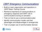 cert emergency communications