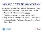 new cert train the trainer course