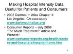 making hospital intensity data useful for patients and consumers