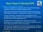 basic steps of solving fem