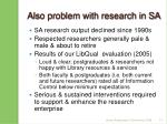 also problem with research in sa
