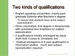 two kinds of qualifications