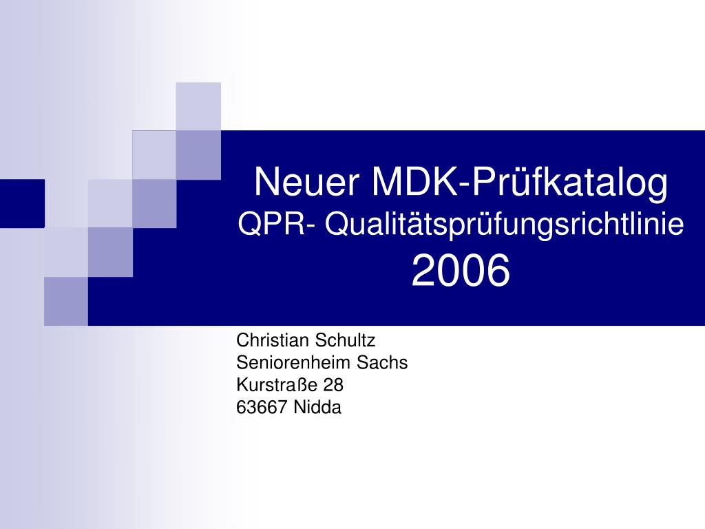 neuer mdk pr fkatalog qpr qualit tspr fungsrichtlinie 2006 l.