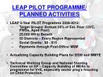 leap pilot programme planned activities