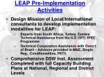 leap pre implementation activities