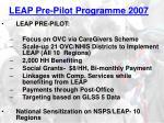 leap pre pilot programme 2007