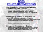 nsps policy interventions