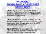 proposed broad policy objectives under nsps