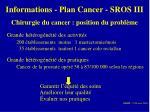 informations plan cancer sros iii4