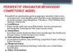 perspektif pragmatik behaviour competence model