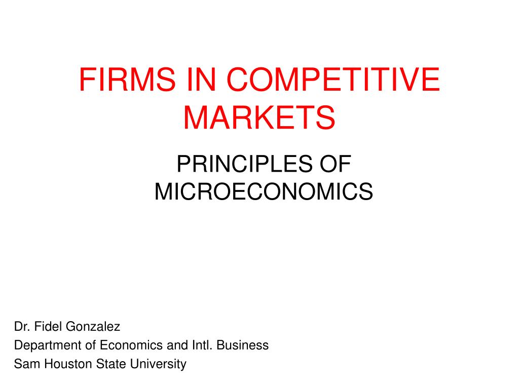 firms in competitive markets l.