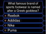 what famous brand of sports footwear is named after a greek goddess