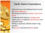 clarify district expectations