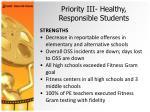 priority iii healthy responsible students