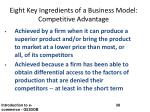 eight key ingredients of a business model competitive advantage