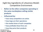 eight key ingredients of a business model competitive environment