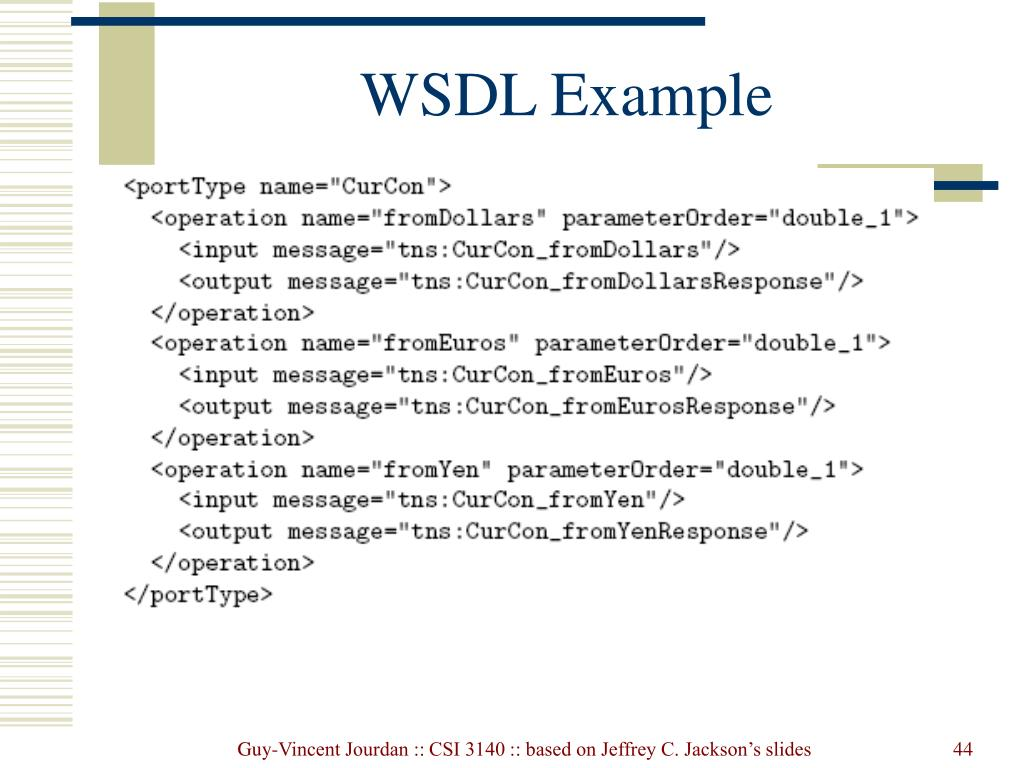PPT - Web Services: JAX-RPC, WSDL, XML Schema, and SOAP