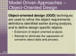 model driven approaches object oriented design