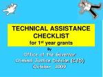 technical assistance checklist for 1 st year grants