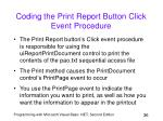 coding the print report button click event procedure