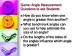 game angle measurement questions to ask students