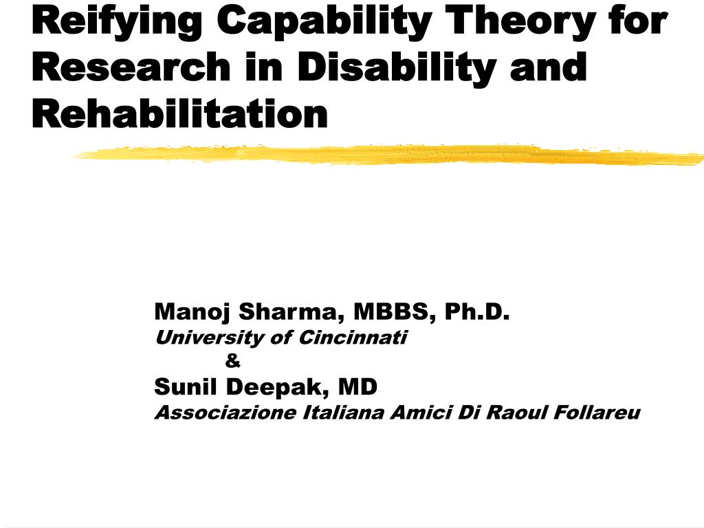 reifying capability theory for research in disability and rehabilitation l.