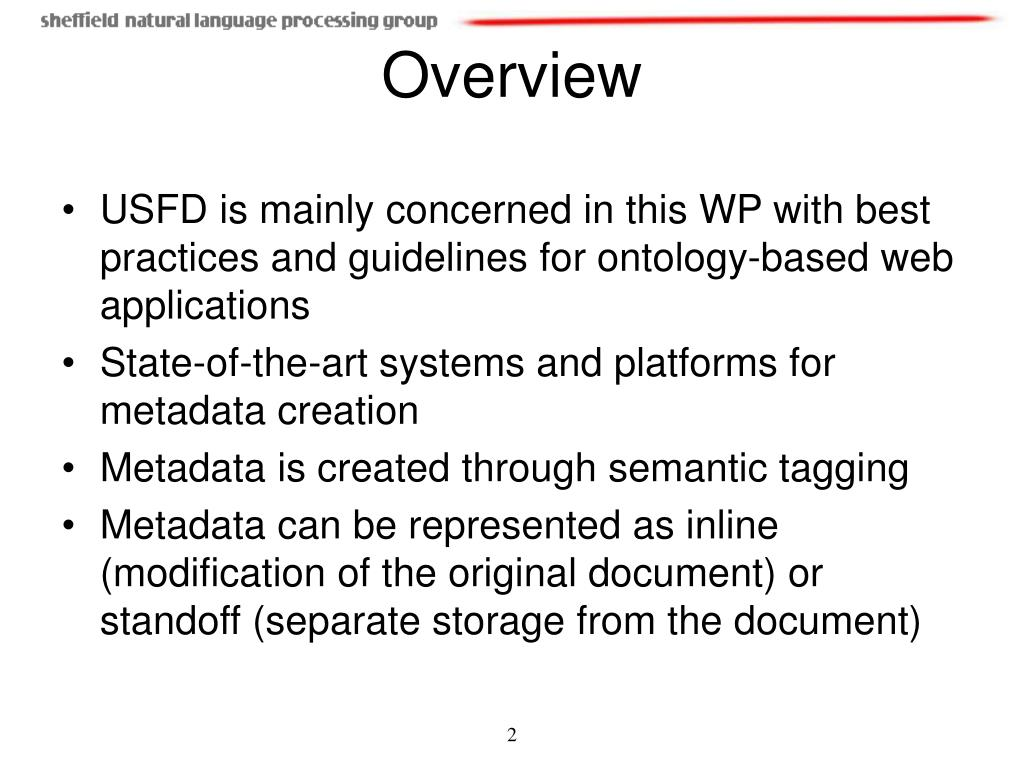 USFD is mainly concerned in this WP with best practices and guidelines for ontology-based web applications