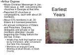 earliest years9