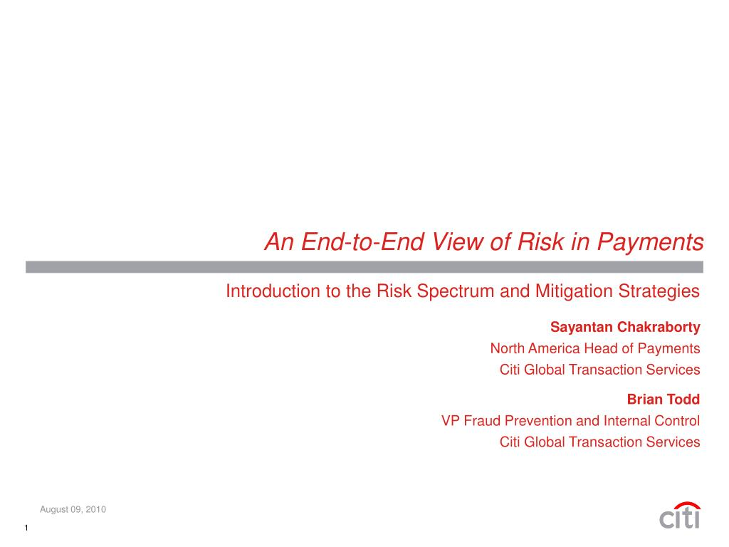 an end to end view of risk in payments l.