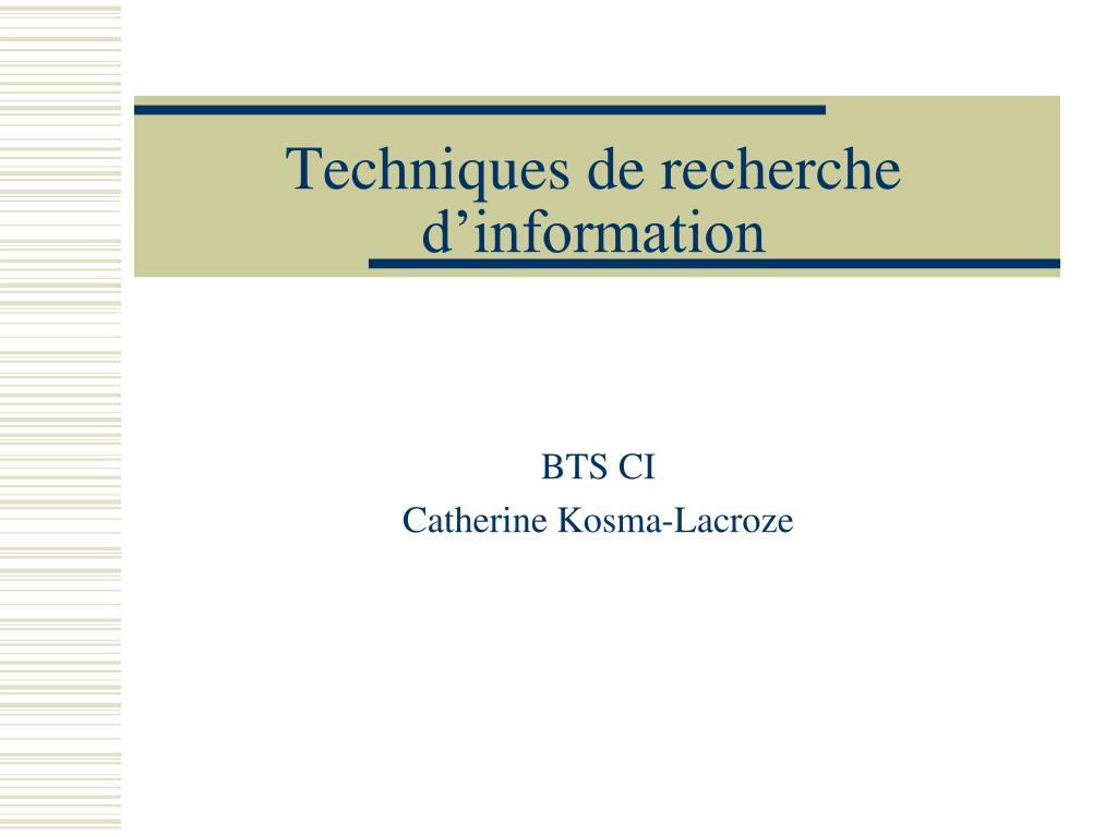 techniques de recherche d information l.