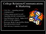 college relations communications marketing