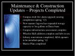 maintenance construction updates projects completed