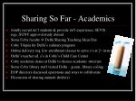 sharing so far academics
