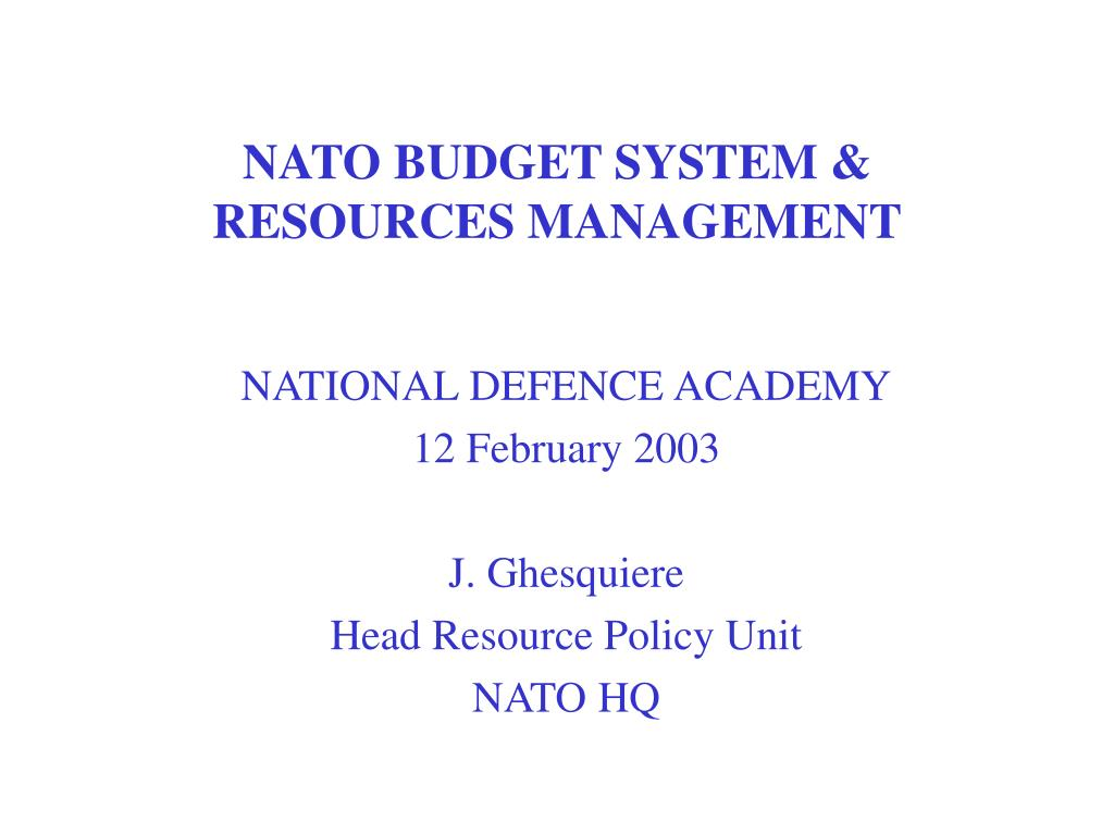 nato budget system resources management l.