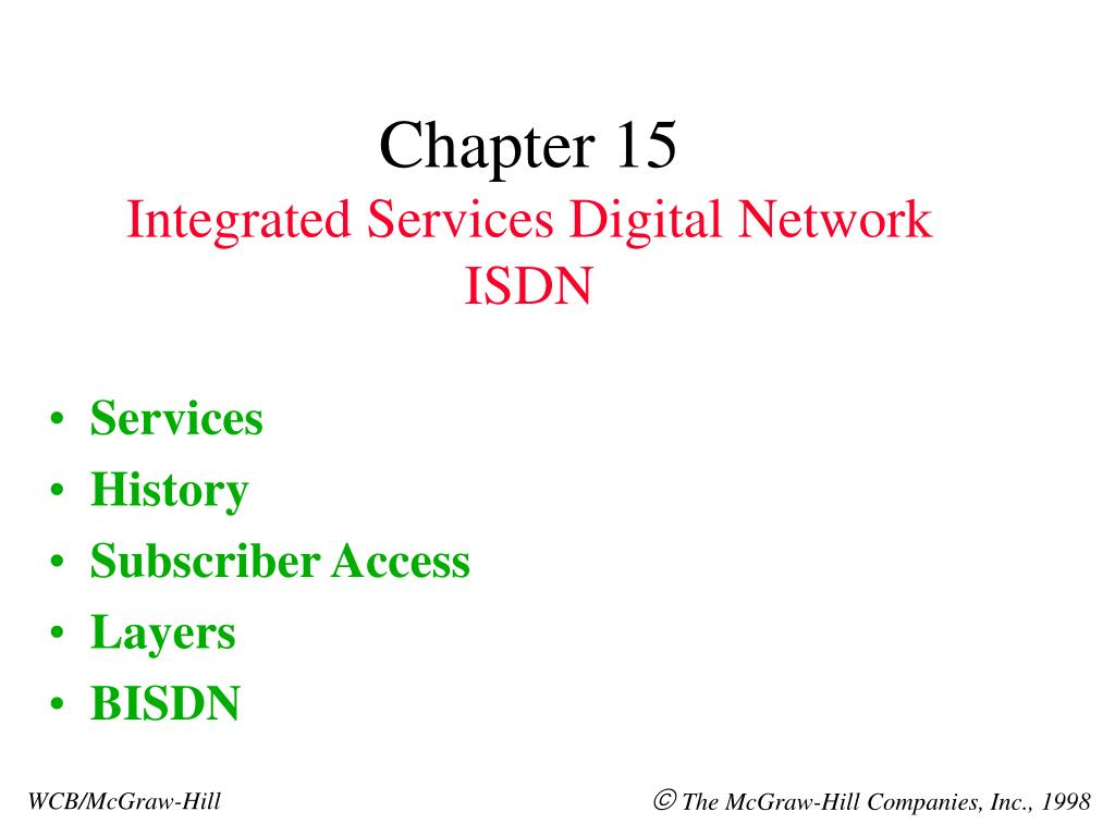 chapter 15 integrated services digital network isdn l.